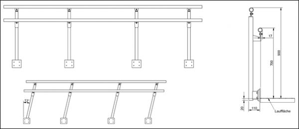 RLS Geländer für Steg oder Podest